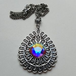 GASOLINE GLAMOUR Jewelry - GYPSY MEDALLION drop OPAL XL stone necklace new